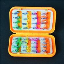 32pcs/set Artificial Fishing hooks Lures with Waterproof Plastic Box Different Color Flies Single Dry Fly Fishing Hooks Lures south bend fishing lures baitholder hooks 10 pack size 2