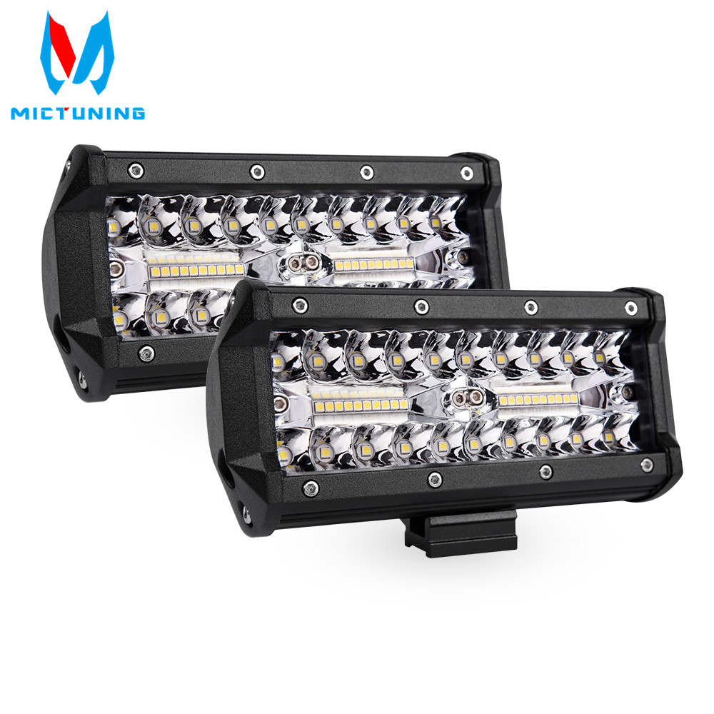 MICTUNING 4 7 inch 3 Rows 80W LED Bar LED Work Light Bar for Tractor Boat OffRoad 4WD 4x4 Truck SUV ATV Driving Motorcycle 12V