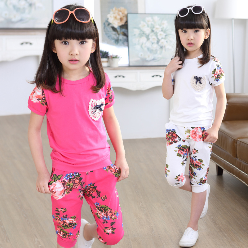 2018 New Baby Girls Summer Cotton Print Clothes Sets Short Sleeve T shirt + Fifth Pants Kids 2pcs Suits Children Clothing Outfit 2pcs children outfit clothes kids baby girl off shoulder cotton ruffled sleeve tops striped t shirt blue denim jeans sunsuit set