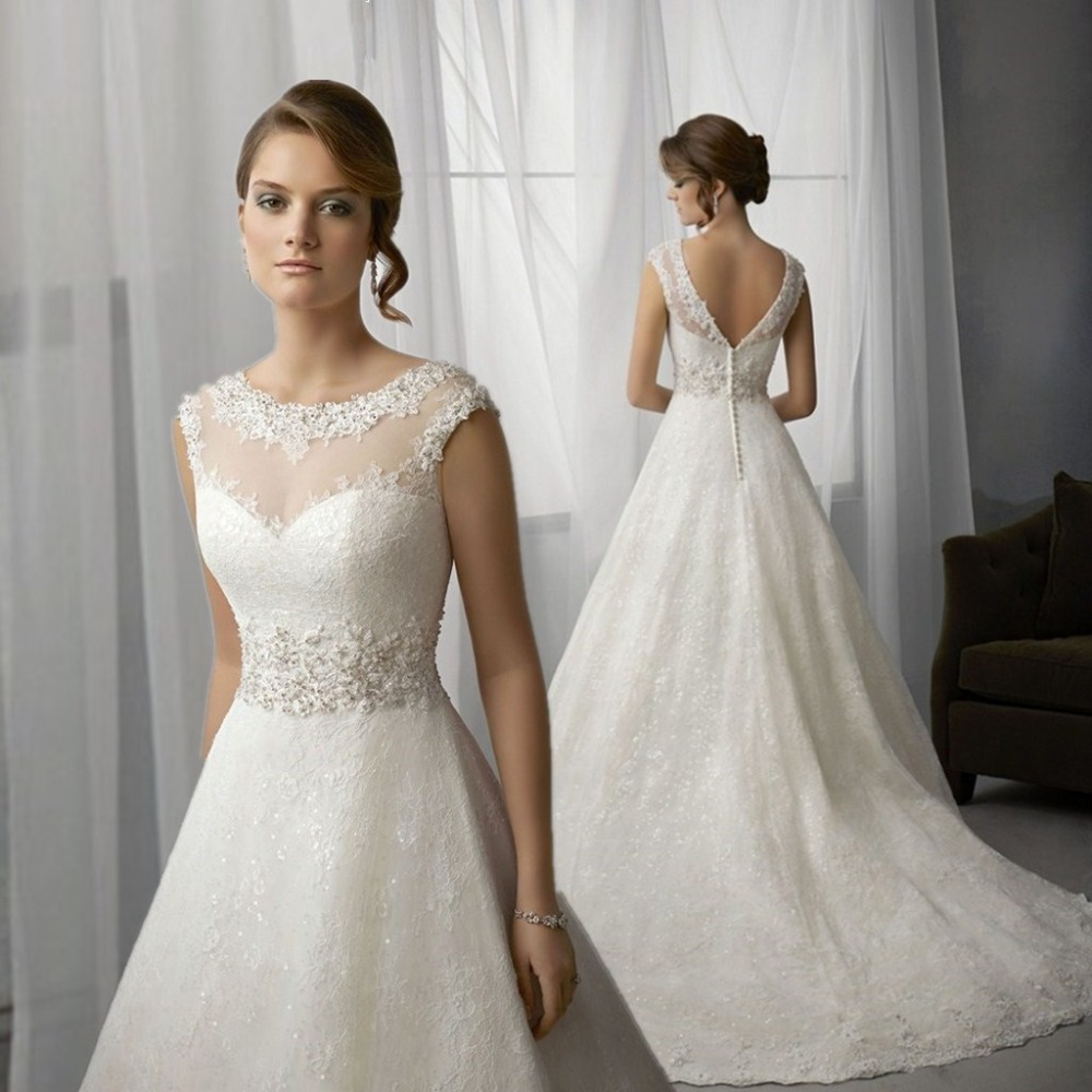 Wedding Dress 2015 A-line Bridal Gown Backless Sco...