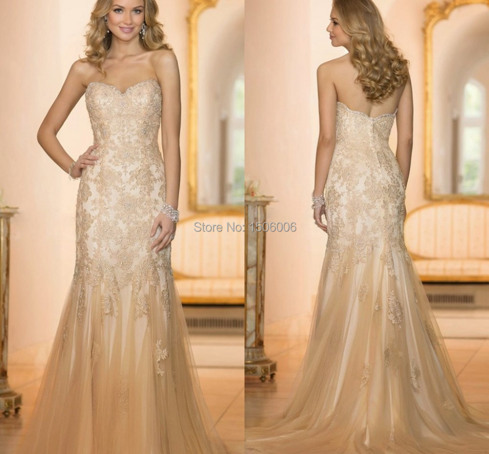 Wedding Gowns In Color: Champagne Color Sweetheart Mermaid Tulle Wedding Gowns New