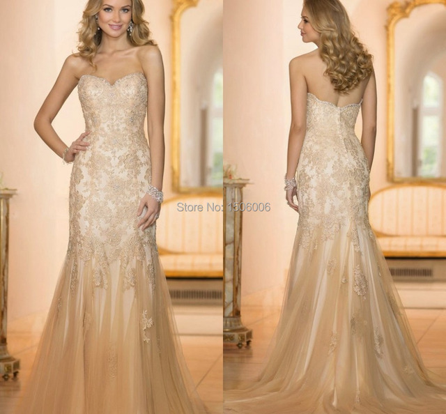 Champagne Color Sweetheart Mermaid Tulle Wedding Gowns New Arrival
