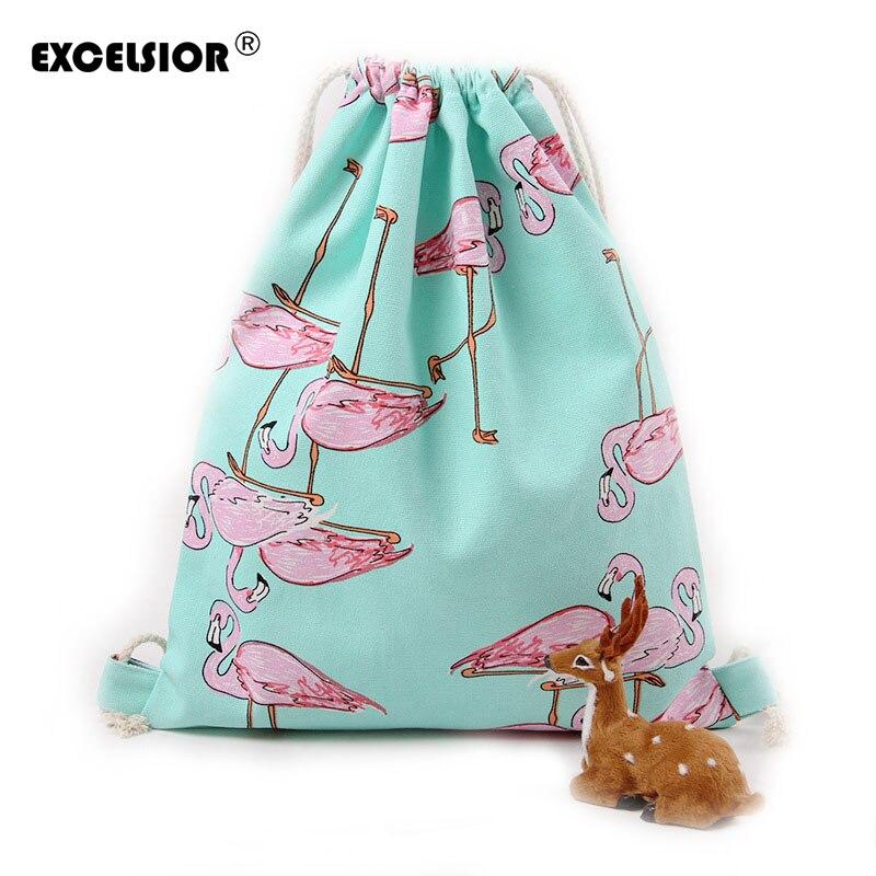EXCELSIOR New Fashion Backpack 3D Printing Women Bag Flamingos Drawstring Bag Female Male Backpacks Tote Bag Travel Bag G0752