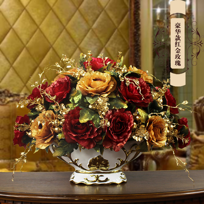 European Luxury Hall Ceramic Vase+Artificial Flower Figurines Home Crafts Decoration Porch Dining Table Fake Flower Pot Ornament