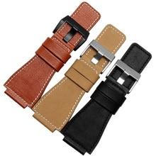 25 مللي متر x 35 مللي متر جلد طبيعي Watchbands الأسود البني الأصفر الرجال حزام (استيك) ساعة حزام سوار مع الصلب مشبك
