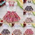 2016 3pcs Baby Girls Toddlers Necklace+Top+Skirts Flower Outfits Summer Clothes Sets Tracksuit For Baby Kids Girls Clothing Sets