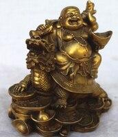 free shipping Chinese Copper Wealth Money Happy Laugh Maitreya Buddha On Dragon Turtle Statue