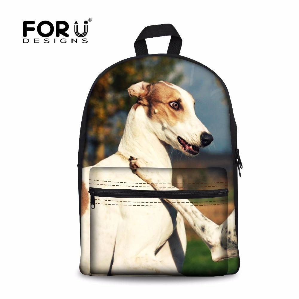 FORUDESIGNS Cute 3D Greyhounds Women School Bags Shoulder Backpack Animal Prints Student Book Schoolbag Mochila Infantil Escolar