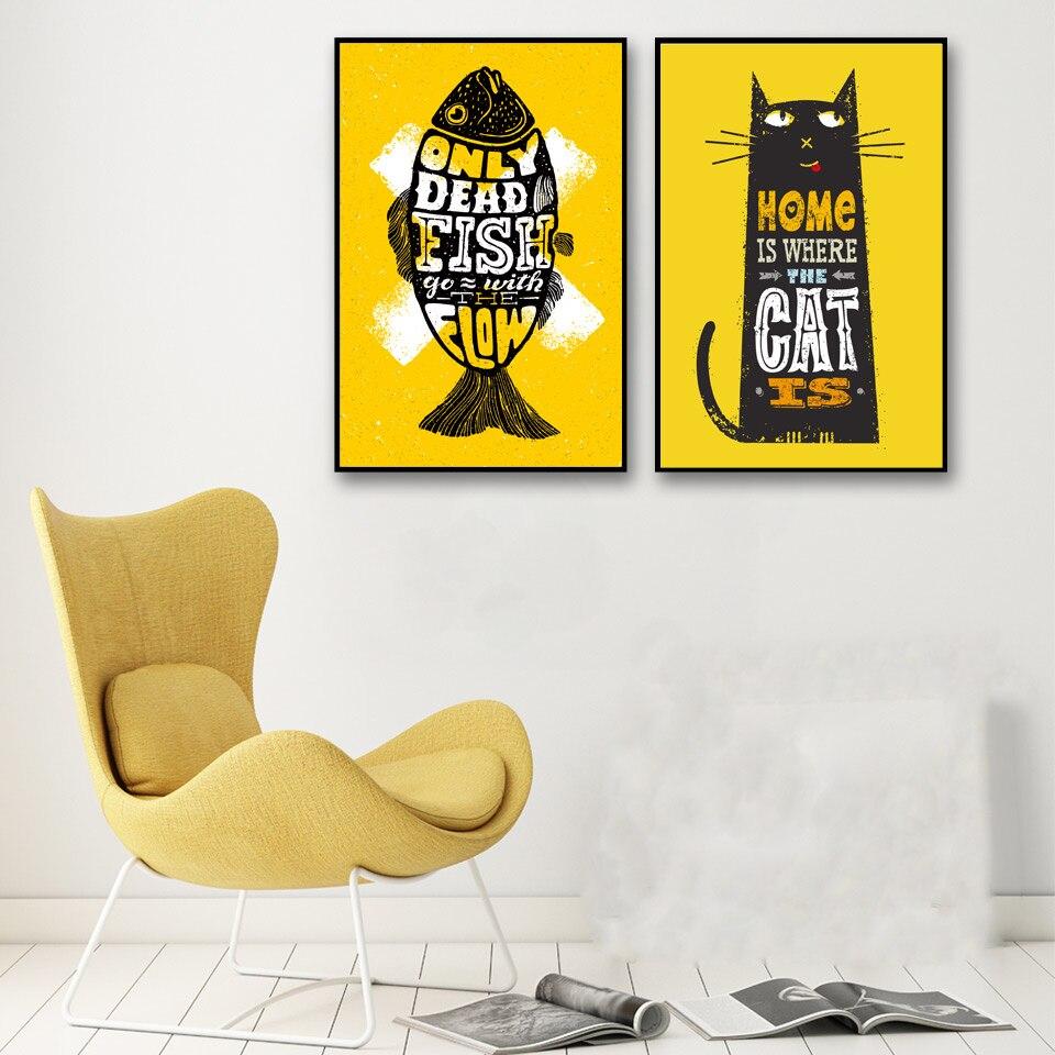 Cartoon Fish and Cat Wall Art Canvas Poster Nordic Minimalist Wall ...