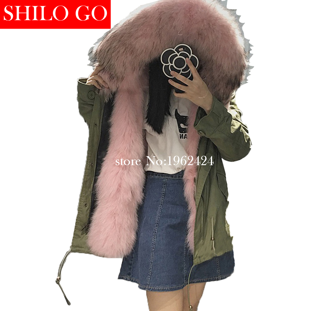 2017 Winter new fashion women high quality pink fox fur raccoon fur collar army green short section of loose black parka&XXL the new high quality imported green cowboy training cow matador thrilling backdrop of competitive entrance papeles