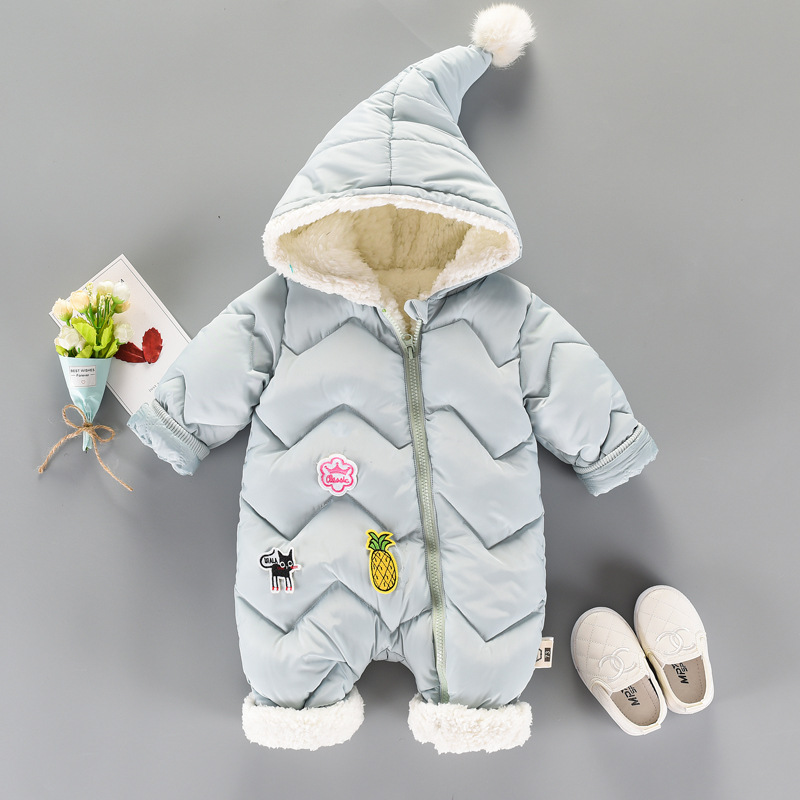 Baby Infant Winter Cotton Plush Snowsuit Zipper Design Newborn Baby Girl Boys Clothes Snowsuit For Boys Winter Coats