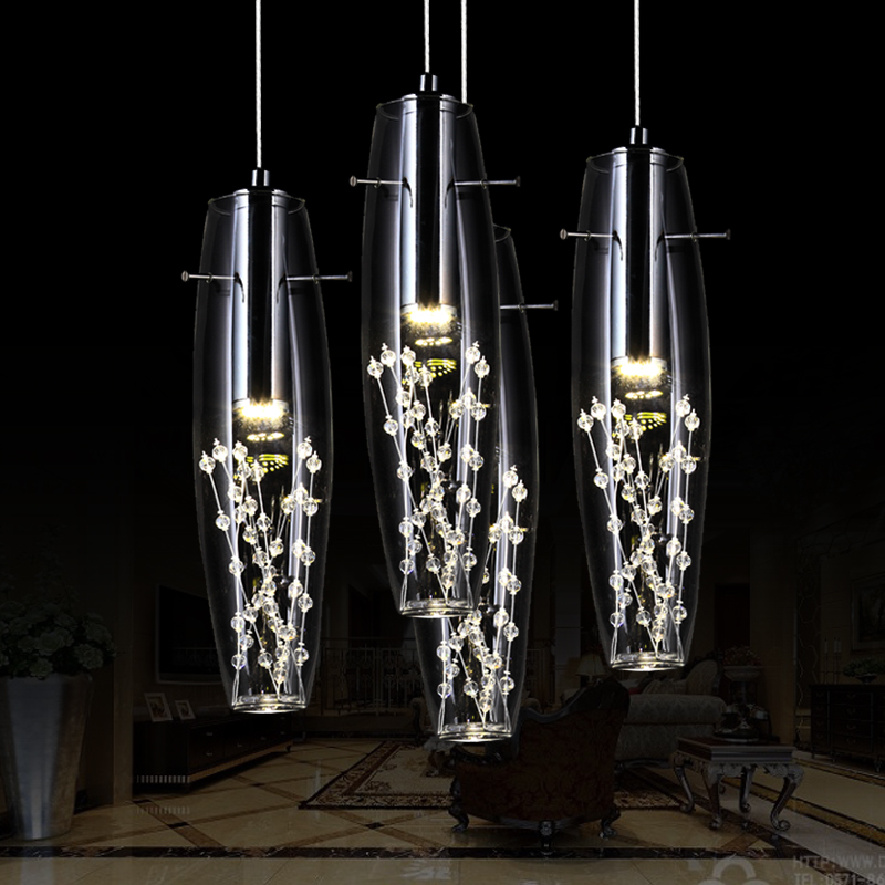 Fashion Modern Stainless Steel Fixture led Creative Restaurant Crystal Pendant Lamp For Dining Room Lustres De Teto Luminaire led crystal chandelier lamp can be customized stainless steel restaurant
