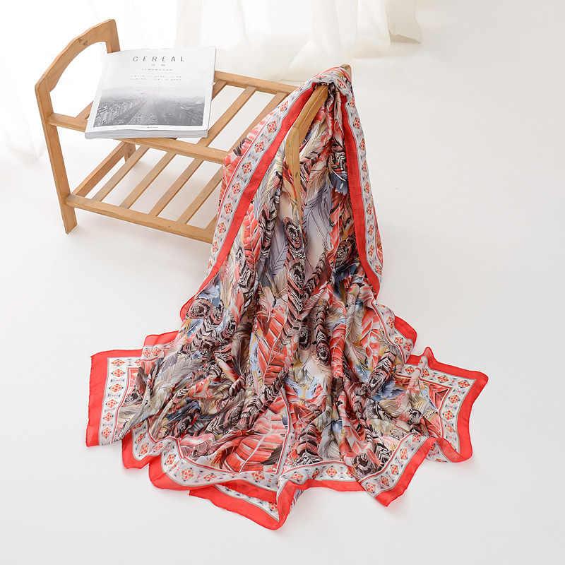 Sciarpa di Seta Crema Solare Telo Mare Donna Decorazione Foulard Femme Versione Luxuryshawl Stampa Floreale Della Signora Dello Scialle di Seta