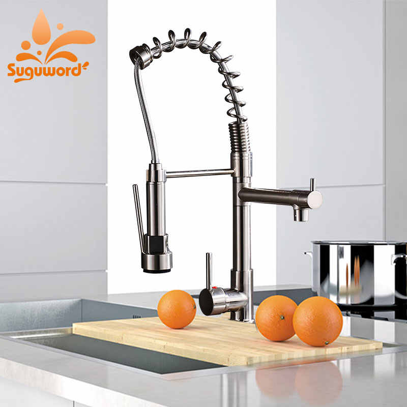Suguword Chrome/Brushed Nickel/ORB/Gold Kitchen Faucet Hot & Cold Switch Mixer Tap Rotation Torneira