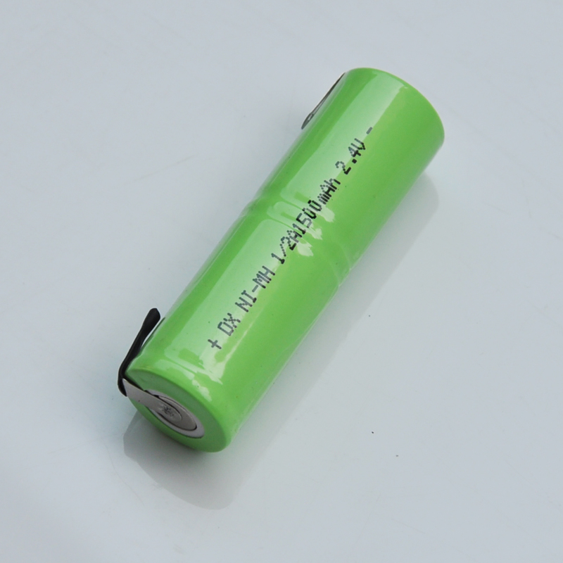 1-2pcs 2.4V 1/2A rechargeable battery 1500mah 1/2 A ni-mh nimh cell with welding tabs pi ...