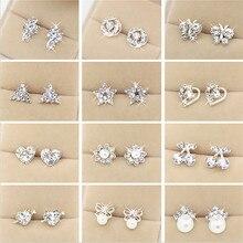 WLP brand jewelry new fashion Earring 2017 Fashion Brand Rhinestone Stud Earrings Women Alloy crystal Studs Earring For Women