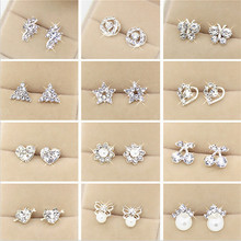 WLP brand jewelry new fashion Earring 2017 Fashion Brand Rhinestone Stud Earrings Women Alloy crystal Studs Earring For Women