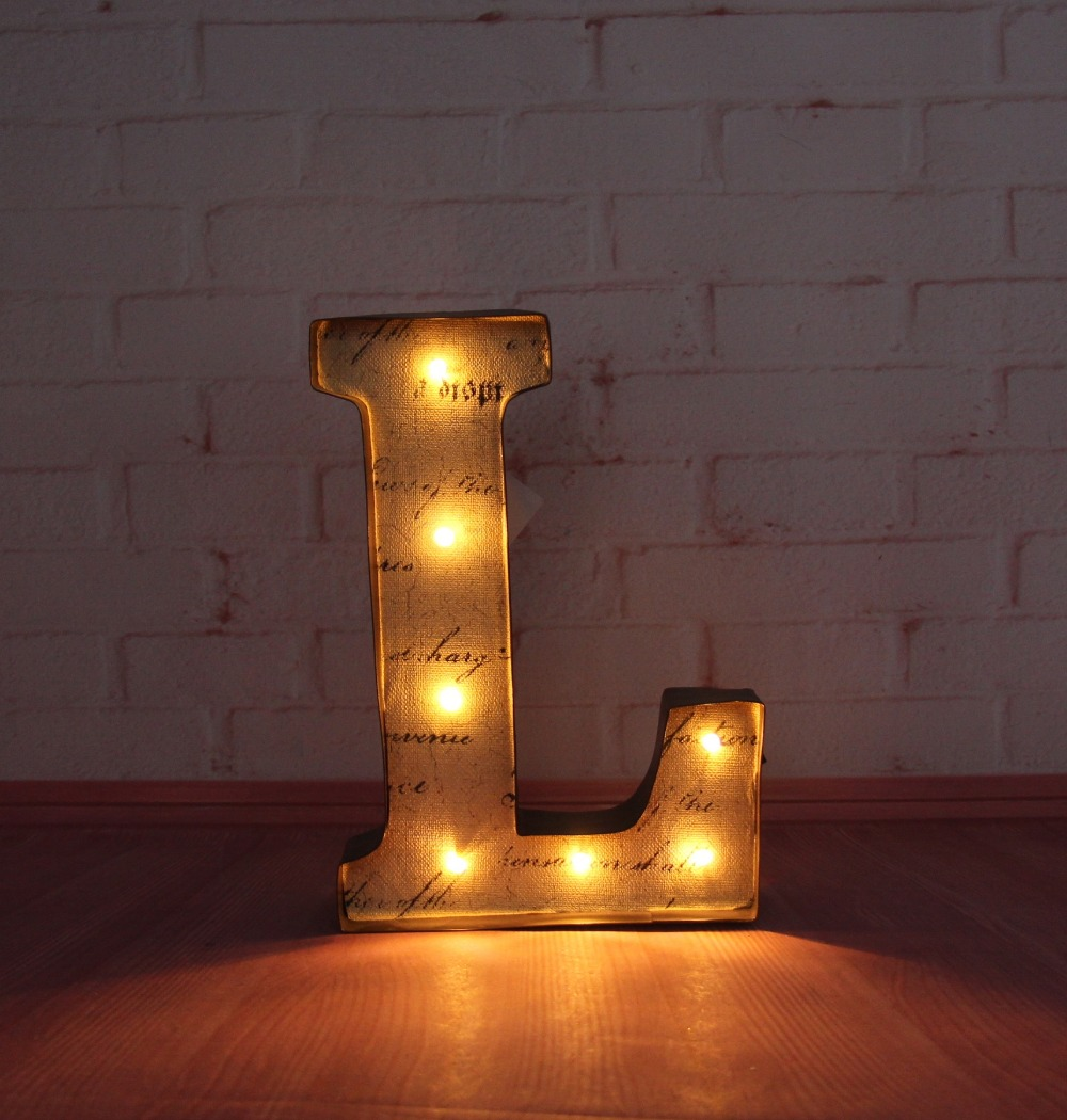 9quot metal letters light led marquee sign light up rustic for Metal letters with lights