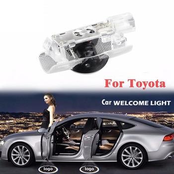 2 unids puerta del coche Led círculo sombra luz fantasma proyector de  logotipo cortesía luz Auto estilo Bienvenido lámpara para Toyota 588b45e3720c3
