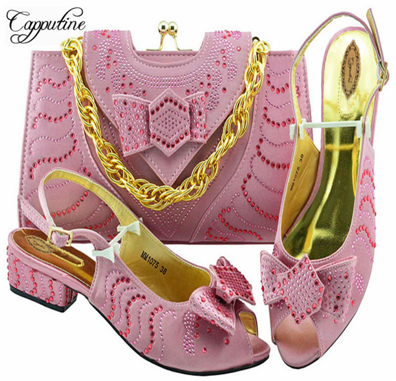 Latest Italian Fashion Low Heels Shoes And Bag Set For Party African Women Pink Shoes And