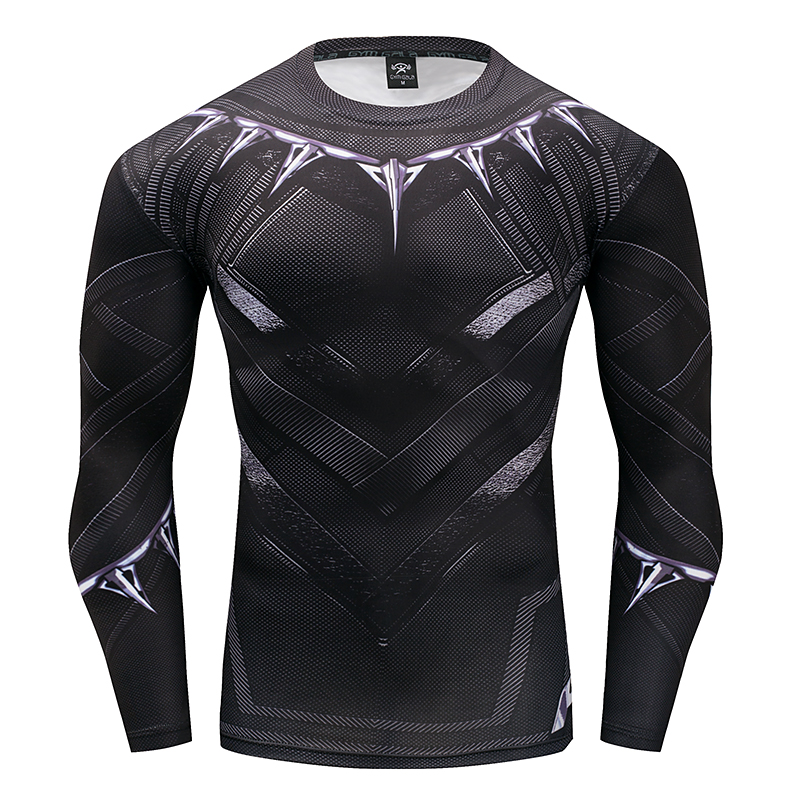 Black panther t shirt captain america 3 superhero winter soldier 3d printed t-shirts fitness men crossfit compression shirt tops-1