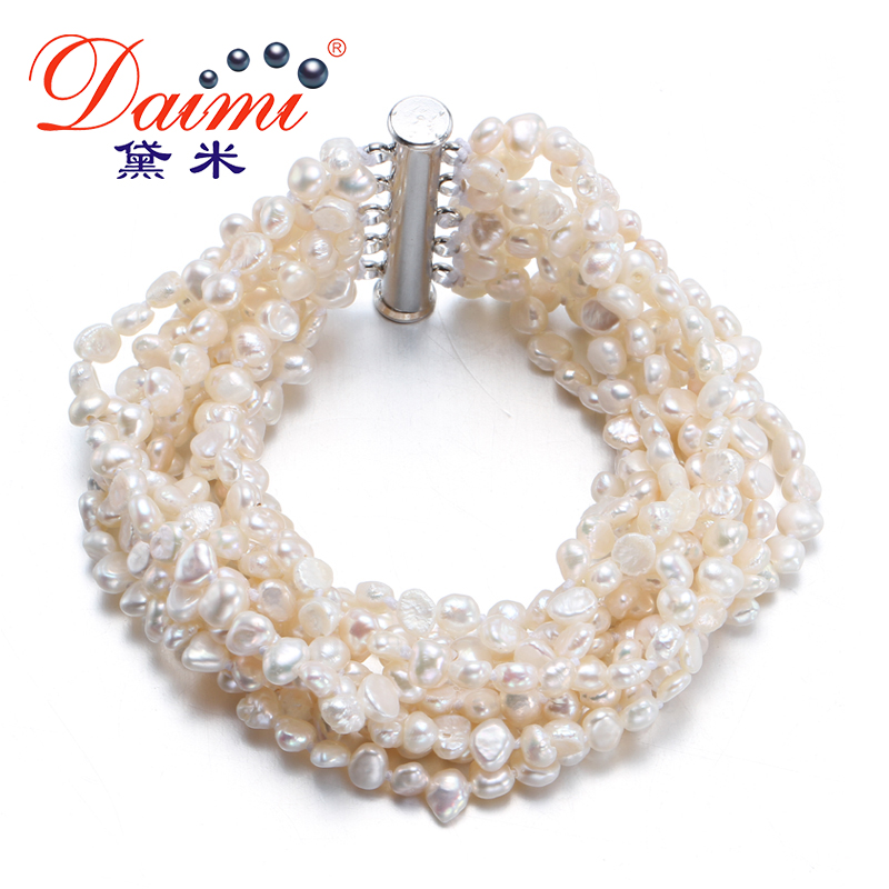 [Daimi] Gorgeous Bracelet 10 Strand Freshwater Pearl Together Joyas vintage Envío gratis [DRIZZLE]