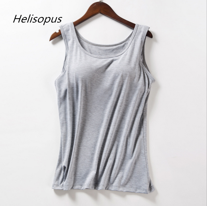 Helisopus Modal Built In Bra Padded Tank Tops Women Summer