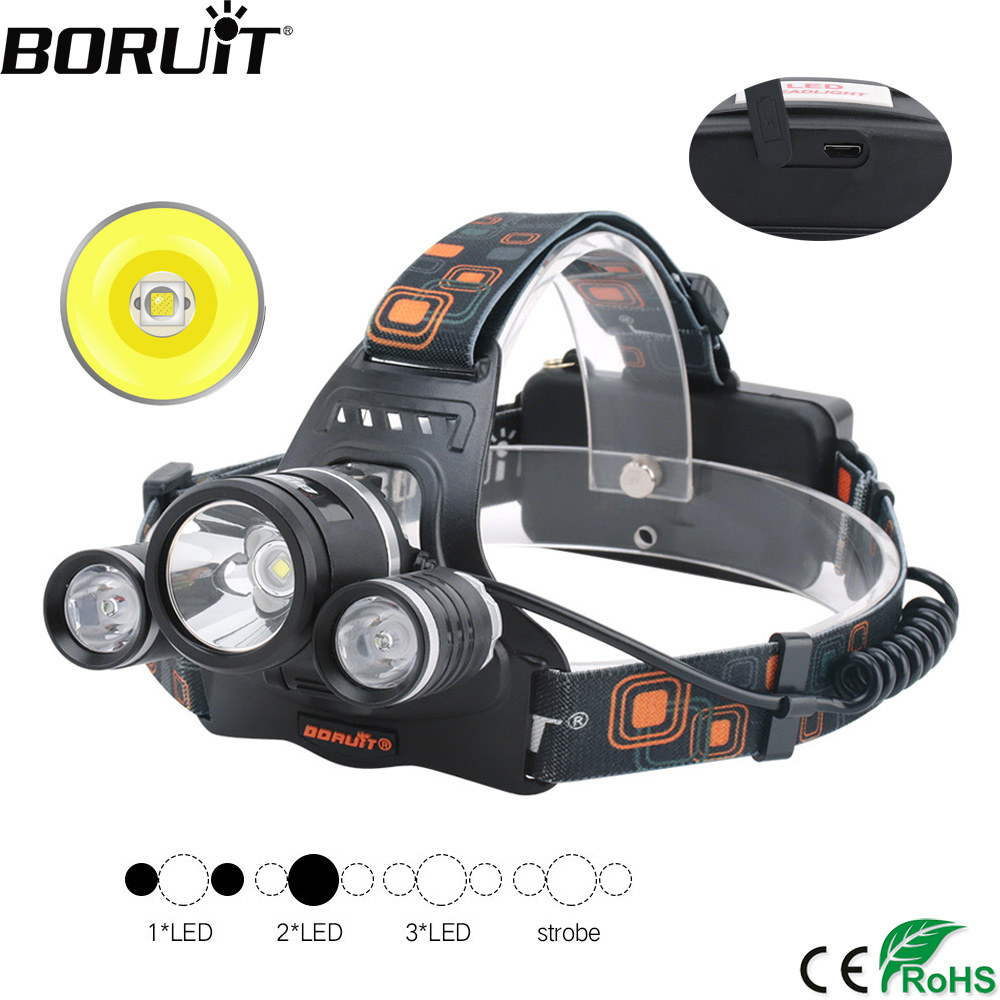 BORUiT XM-L2 R5 LED Headlamp 18650 Battery USB Charger Headlight 4-Mode Waterproof Head Torch Camping Hunting Flashlight