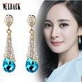 Coréia do sul estilo longo gota de água em forma de brincos de cristal de alta qualidade design de moda jóias brincos de noiva vermelho