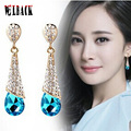 South Korea style long water drop shaped crystal earrings high quality fashion design jewelry red bridal earrings