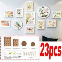 23Pcs/Set Modern White Photo Frames Set Home Decoration Flowers Bird Pattern Wooden Picture Frames Wall Photo Frame Set Gifts