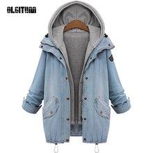 Пальто «olgitum» синее с капюшоном и завязками трендовая верхняя одежда с карманами из двух частей Женское пальто с длинным рукавом на пуговицах модное пальто JK210