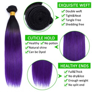 Бразильские пучки прямых и волнистых волос Ombre, 2 тона, фиолетовые, бразильские прямые человеческие волосы, пучки, предварительно цветные, не...
