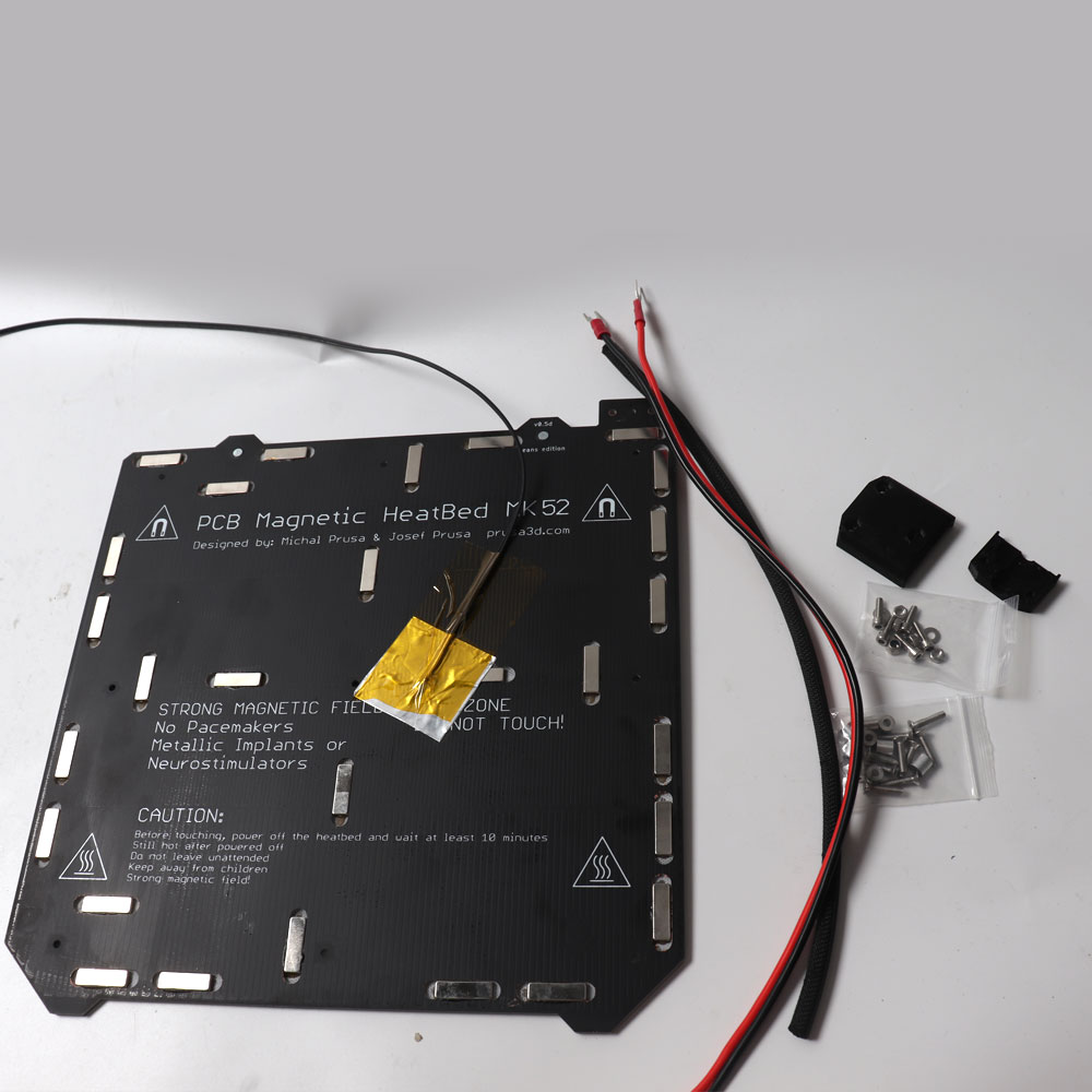 prusa i3 mk3 mk3s mk52 cama aquecida 24v montado n35uh imas cabo de alimentacao termistor manga