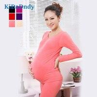 kidadndy Pregnant Women Long Underwear Seamless High Elastic Cotton Thick Pregnant Stomach Lift Thermal Underwear Set FF353