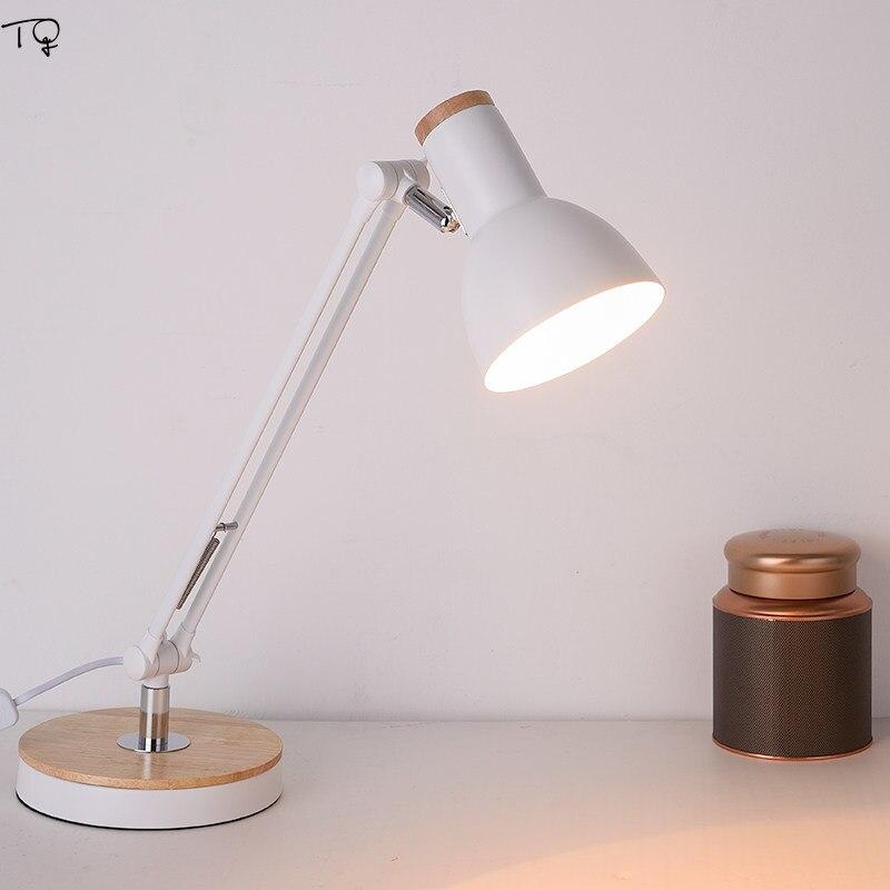 Nordic Japanese Rotating Wooden Desk Lamp Bed Light  Bedside Study Reading Work Simple Modern Warm Led Table Lamp Art Decor Home