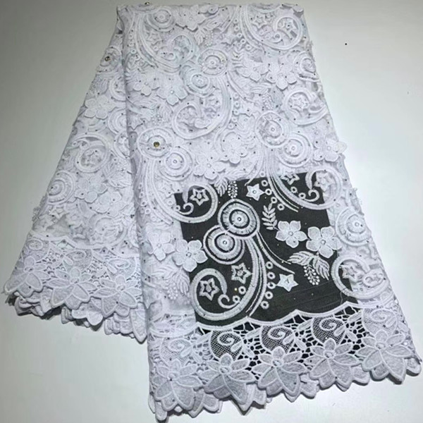 High quality with stone Water soluble Embroidery African cord french guipure swiss cotton lace Fabric for