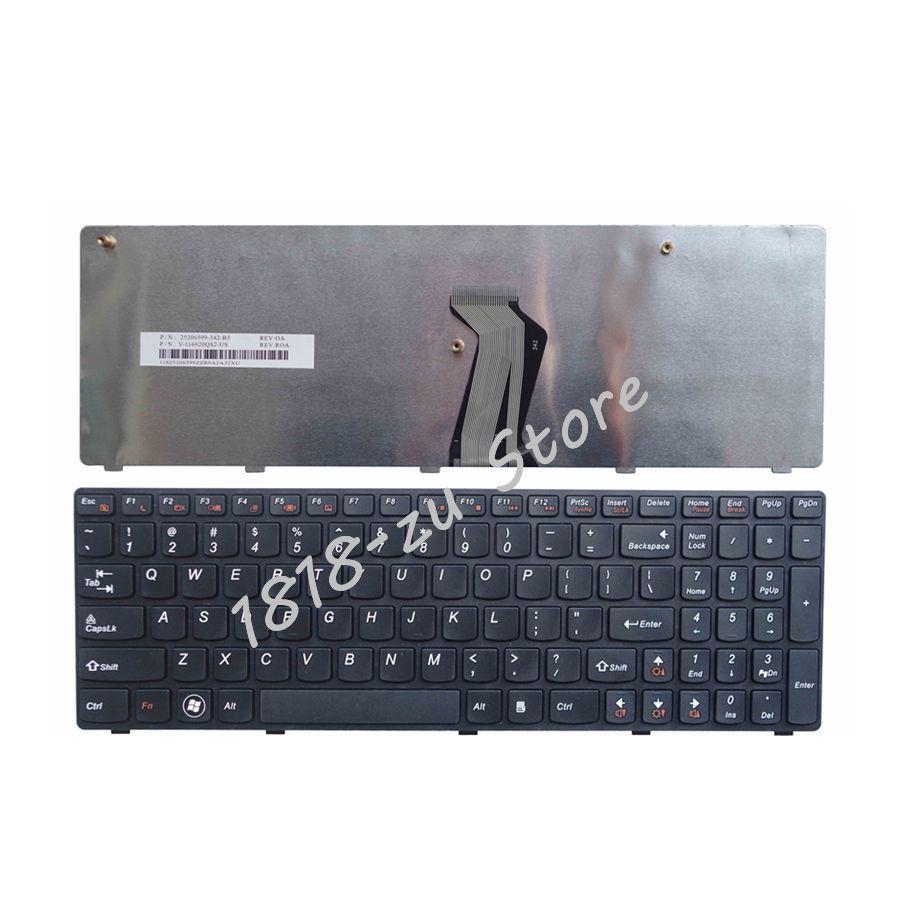 YALUZU  New US English Laptop Keyboard For Lenovo G560 G 560 G565 G560A G565A G560E G560L Black Notebook Keyboard With Frame