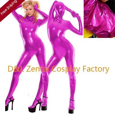 Free Shipping DHL Wholesale Sexy Full Body Fuchsia Color Shiny Metallic Zentai Suit For Women SM1549