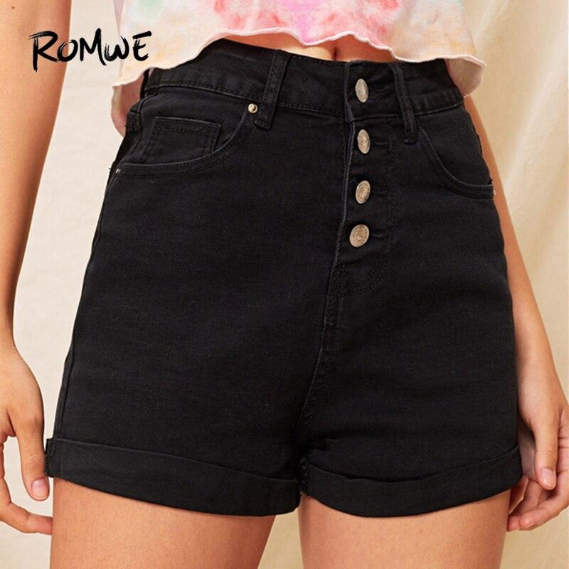 ROMWE Black Solid Button Front Cuffed Hem Denim   Shorts   Women Summer Stretchy Streetwear Mid Waist Skinny Plain Casual Bottoms