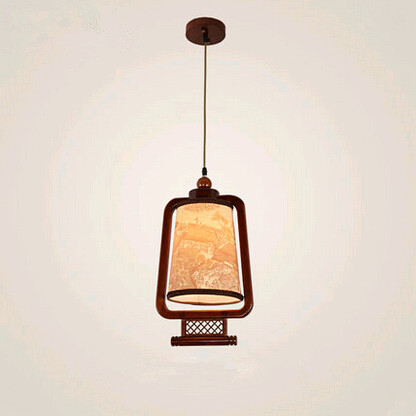 Chinese ancient carved qinming shanghe pattern wood art frame Pendant Lights Retro yellow lamps for corridor&porch&stairs MYR032 tradition chinese style carved wood art pendant lights retro countryside house lamp for bar