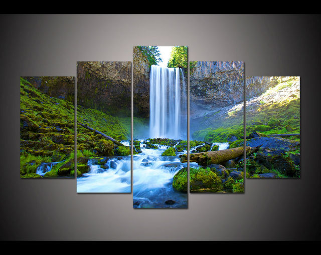 2017 nouveau 5 panneau grand imprim peinture chute chute. Black Bedroom Furniture Sets. Home Design Ideas