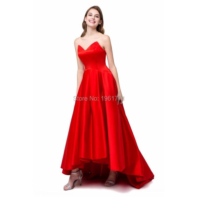 Haut bas robe de bal Sexy rouge chérie Corset dos court avant Long dos Satin femmes soirée formelle Occasion spéciale robes - 4