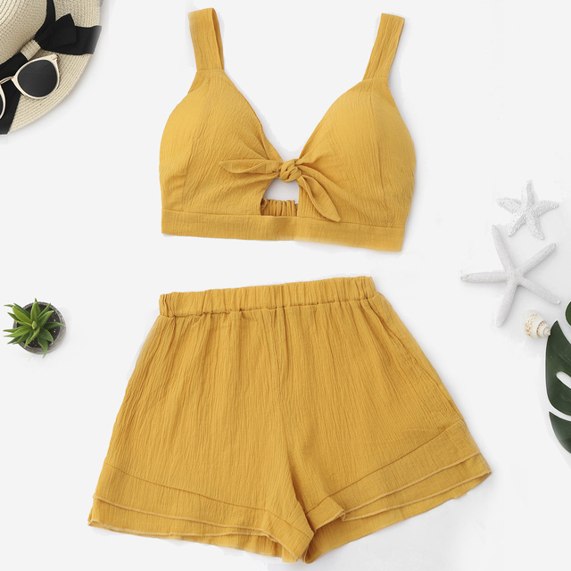 Summer Women Sets Yellow Color Cut Out Crop Top Shorts Set Bra tops Beach  Casual Suits V Neck High Waist Two Peices Sets d29cdaff9