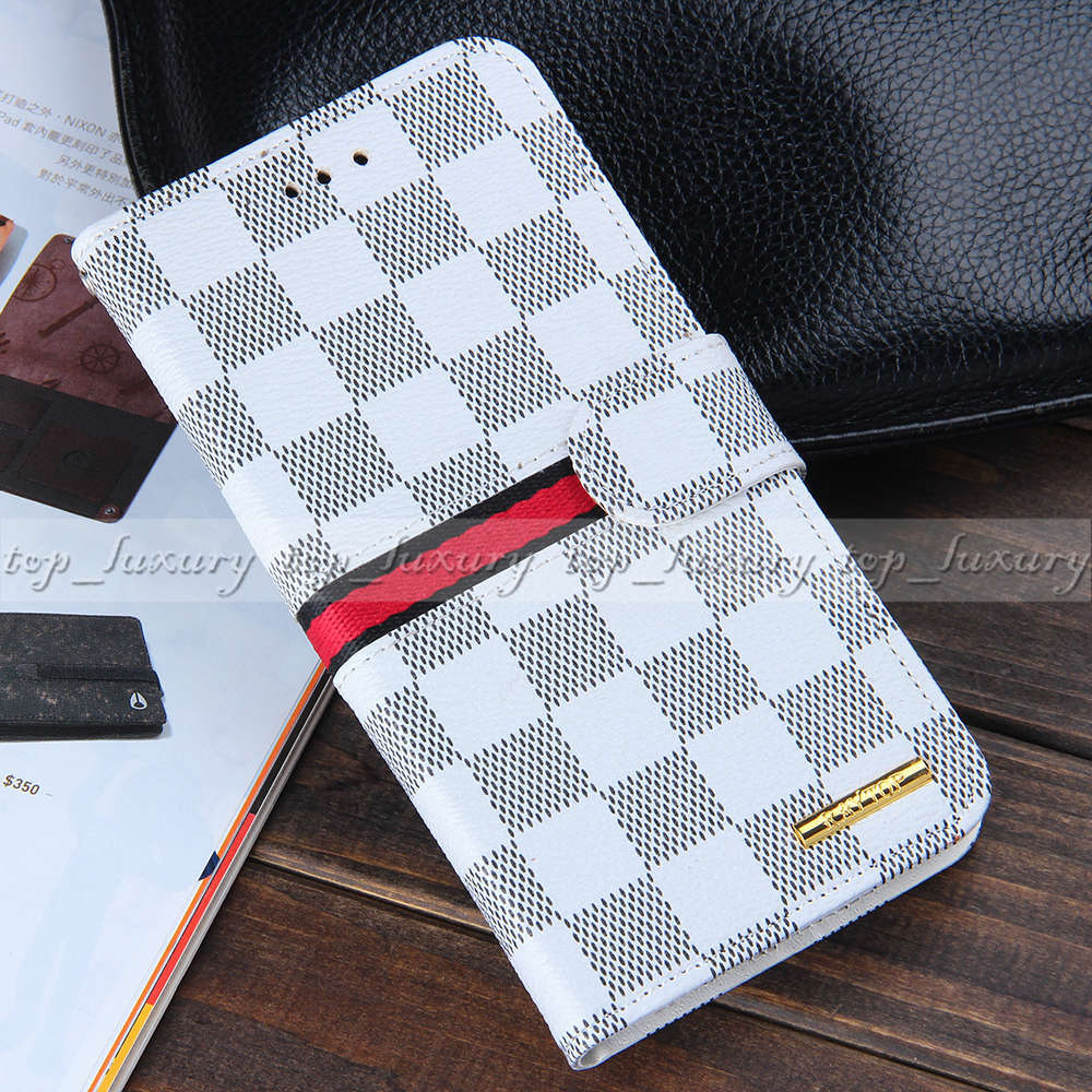 Luxury Designer Plaid Leather Wallet Cases for Apple iPhone 6 Plus 5.5