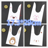 50pcs Big Rabbit Ear Cookie Cake Bag Plastic Packaging Biscuit Candy Gift Bags Cute Cartoon Wedding