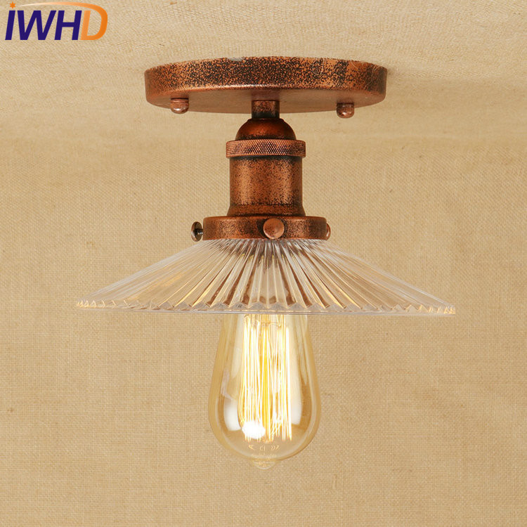 IWHD Retro Loft Style Edison Industrial Ceiling Lamp Antique Iron Glass Vintage Ceiling Light Fixtures Home Lighting Lampara retro loft style mirror glass iron vintage ceiling light fixtures edison industrial ceiling lamp antique lights home lighting