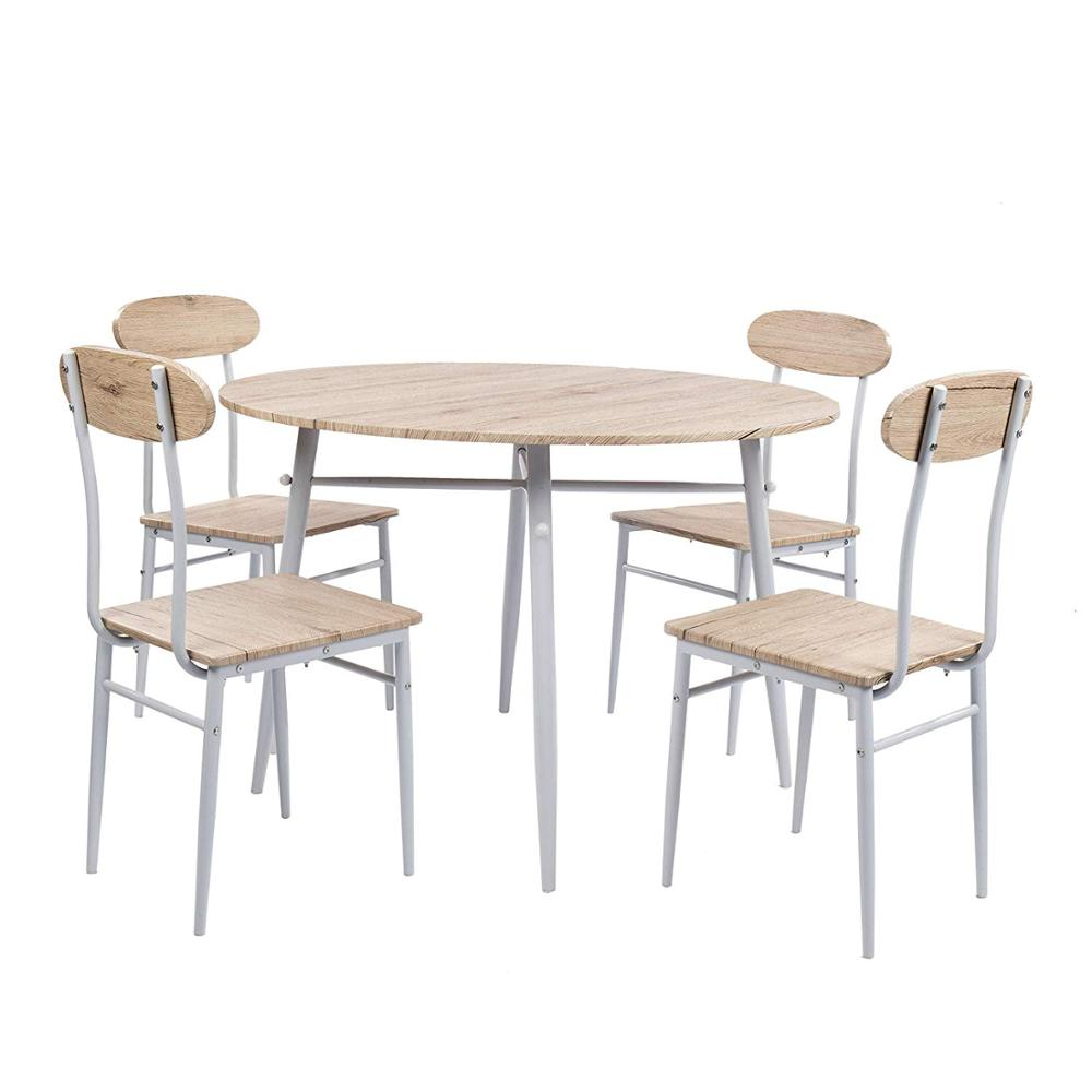 9 Piece Round Dining Set Country Style Kitchen Table and Chairs with Metal  Legs,Warm in White