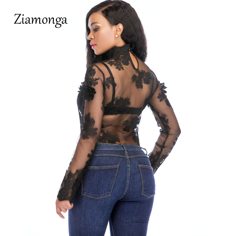 faf126538bd74 Ziamonga 2018 Women Sexy Bodysuit Jumpsuit Romper One Piece Black White  Lace Bodycon Body Top Long Sleeve Playsuits Overalls-in Bodysuits from  Women's ...