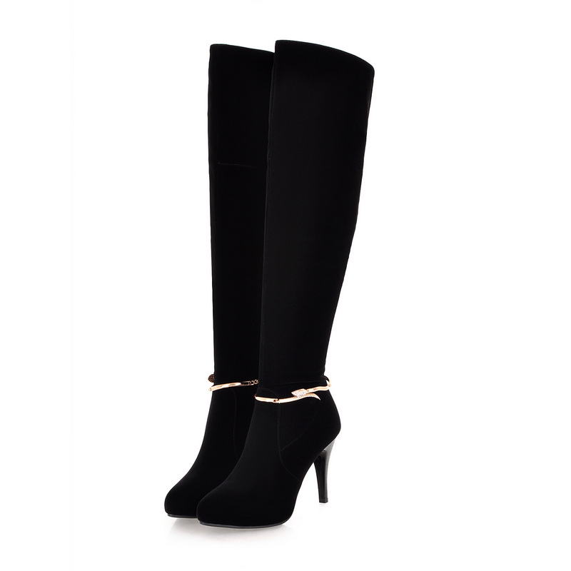 2018 Thin High Heels Shoes Sexy Black Night Club Flock Winter Boots Over The Knee Boots Fashion Zipper Ladies Boots Size 34-39 big size 34 45 women boots over the knee shoes black white slim thin high boots sexy ladies fashion shoes 86278